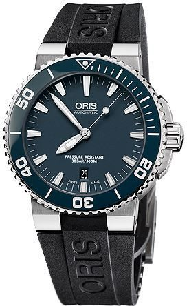 Oris Aquis Date Blue Dial Black Rubber Men's Watch 01 733 7653 4155-07 4 26 34EB
