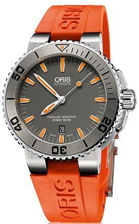 Oris Aquis Date Grey Dial Orange Rubber Men's Watch 01 733 7653 4158-07 4 26 32EB