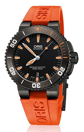Oris Aquis  Date Black PVD Orange Rubber Strap Men's Watch 01 733 7653 4259-07 4 26 32GEB