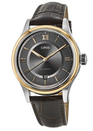 Oris Classic Date Rose Gold & Steel Grey Dial Leather Strap Men's Watch 01 733 7719 4373-07 5 20 32