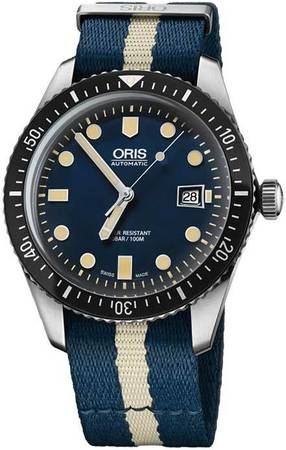 Oris Divers Sixty- Five Blue Dial Blue and Beige Fabric Men's Watch 01 733 7720 4055-07 5 21 29FC