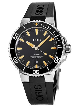 Oris Aquis Date Automatic Black Dial Rubber Strap Men's Watch 01 733 7730 4159-07 4 24 64EB-PO