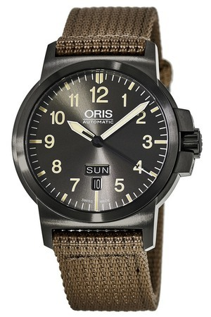Oris BC3 Advanced Day Date Grey Dial Beige Fabric Men's Watch 01 735 7641 4263-07 5 22 22G