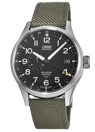 Oris Big Crown ProPilot GMT Small Second Black Dial Olive Fabric Men's Watch 01 748 7710 4164-07 5 22 14FC