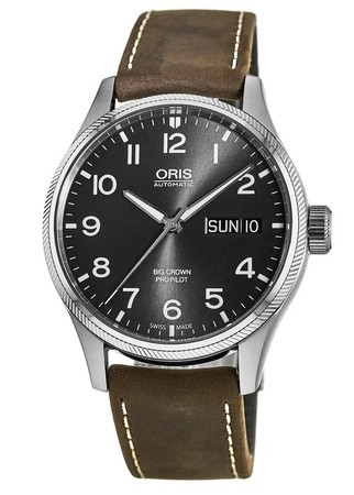 Oris Big Crown ProPilot Day Date Grey Dial Brown Leather Men's Watch 01 752 7698 4063-07 5 22 05FC