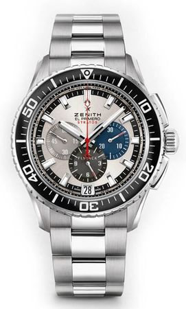 Zenith El Primero Stratos Flyback Tribute To Felix Baumgartner Stainless Steel Men's Watch 03.2066.405/69.M2060