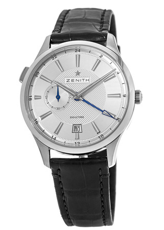 Zenith Captain Dual Time Silver Dial Leather Strap Men's Watch 03.2130.682/02.C498