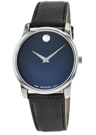 Movado Museum Classic Blue Dial Leather Strap Men's Watch 0607013