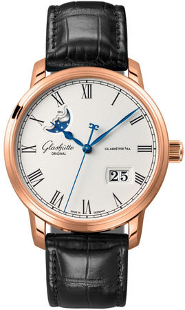 Glashutte Original Quintesssentials Senator  Panrama Date  Moonphase  Men's Watch 100-04-32-15-04