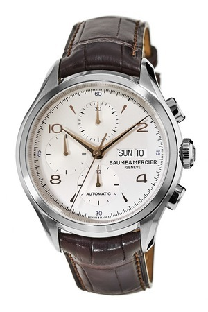 Baume & Mercier Clifton Automatic 43mm Silver Chronograph Dial Leather Strap Men's Watch 10129
