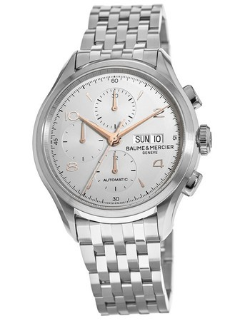 Baume & Mercier Clifton Automatic 43mm Chronograph Silver Dial Steel Men's Watch 10130