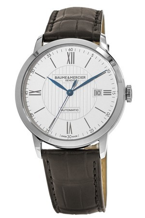 Baume & Mercier Classima Executives Automatic 40mm Silver Dial Dark Brown Leather Strap Men's Watch 10214