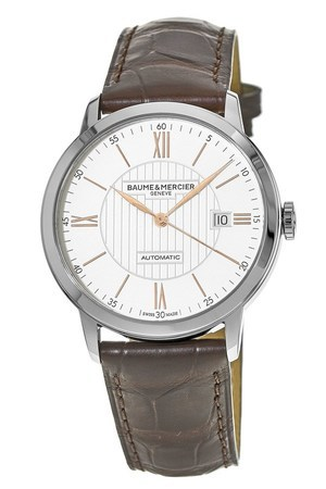 Baume & Mercier Classima Automatic Silver Dial Brown Leather Men's Watch 10263