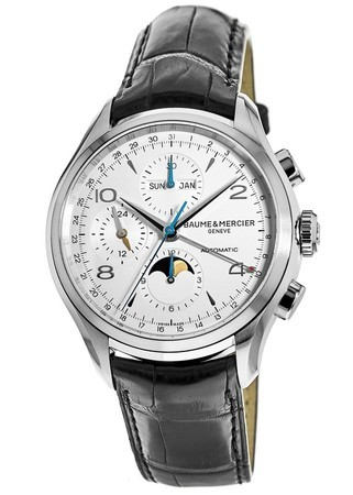 Baume & Mercier Clifton Automatic Moon-phase Silver Chronograph Leather Strap Men's Watch 10278