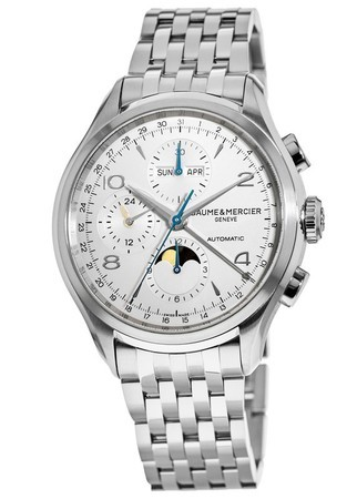 Baume & Mercier Clifton Automatic Moon-phase Chronograph Silver Dial Steel Men's Watch 10328
