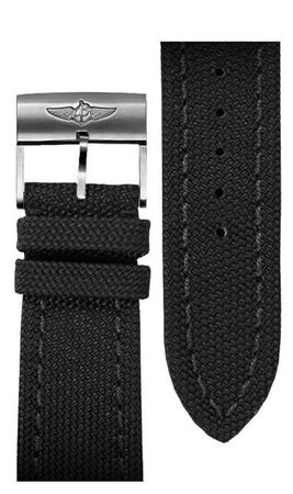 Breitling Canvas 22-20mm Black Canvas Men's Strap 103W