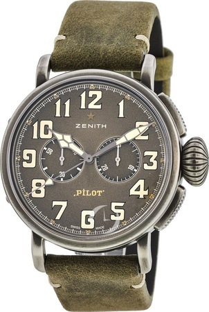 Zenith Pilot Montre d'Aeronef Type 20  Grey Dial Green Leather Men's Watch 11.2430.4069/21.C773