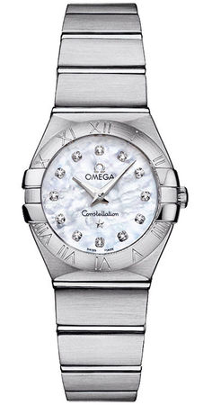 Omega Constellation Brushed Quartz 24mm Mother of Pearl Women's Watch 123.10.24.60.55.001