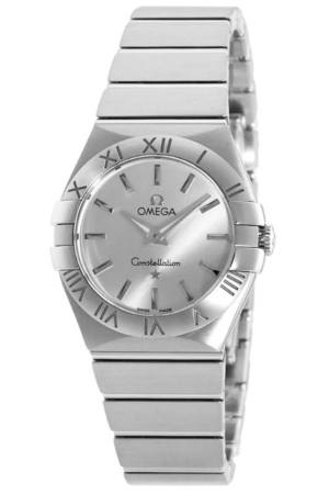 Omega Constellation Brushed Quartz 27mm Silver Dial Stainless Steel Women's Watch 123.10.27.60.02.001