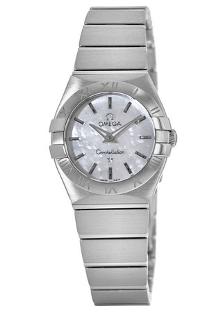 Omega Constellation Brushed Quartz 27mm Mother Of Pearl Dial Women's Watch 123.10.27.60.05.001