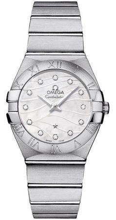Omega Constellation Brushed Quartz 27mm Mother of Pearl Diamond Dial Women's Watch 123.10.27.60.55.003