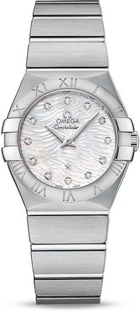 Omega Constellation Brushed Quartz 27mm Wave Mother of Pearl Diamond Dial Women's Watch 123.10.27.60.55.004