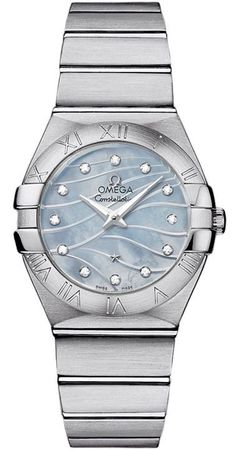 Omega Constellation Brushed Quartz 24mm Blue Mother of Pearl Diamond Dial Women's Watch 123.10.27.60.57.001