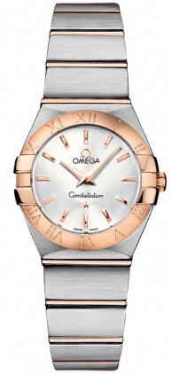 Omega Constellation Brushed Quartz 24mm 18kt Rose Gold & Steel Women's Watch 123.20.24.60.02.001