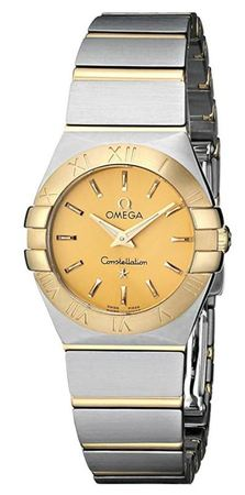 Omega Constellation Brushed Quartz 24mm Yellow Gold & Steel Champagne Dial Women's Watch 123.20.24.60.08.001