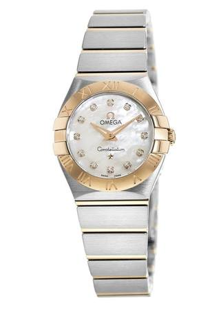 Omega Constellation Brushed Quartz 24mm Diamond Mother of Pearl Dial Women's Watch 123.20.24.60.55.001