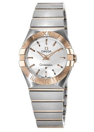 Omega Constellation Brushed Quartz 27mm Rose Gold & Steel Silver Dial Women's Watch 123.20.27.60.02.001