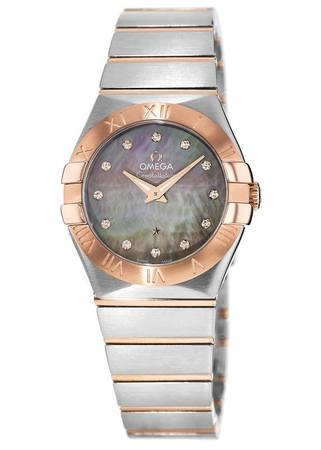 Omega Constellation Quartz 27mm Tahiti Mother of Pearl Steel and Rose Gold Women's Watch 123.20.27.60.57.006