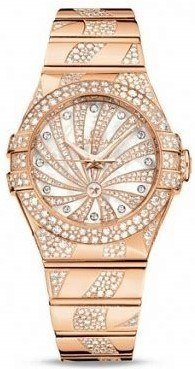 Omega Constellation Luxury Edition Mother of Pearl Diamond Dial Rose Gold Women's Watch 123.55.31.20.55.008