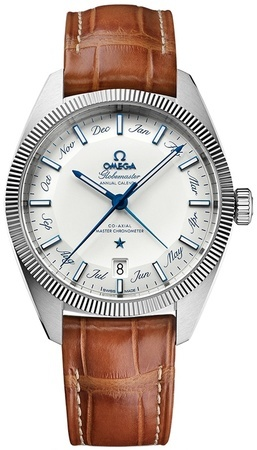 Omega Constellation Globemaster Co-Axial Master Chronometer Annual Calendar Silver Dial Brown Leather Men's Watch 130.33.41.22.02.001