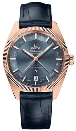 Omega Constellation Globemaster Co-Axial Master Chronometer Annual Calendar Rose Gold Blue Dial Blue Leather Men's Watch 130.53.41.22.03.001