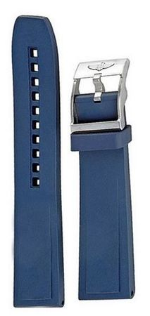 Breitling Rubber 22-20mm Blue Leather Men's Strap 145S