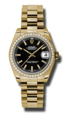 Rolex Datejust 31  18k Yellow Gold Presidential Bracelet Women's Watch 178288-BKI