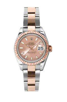 Rolex Datejust 26  Pink Stick Dial Everose & Steel Oyster Bracelet Women's Watch 179171-PSO
