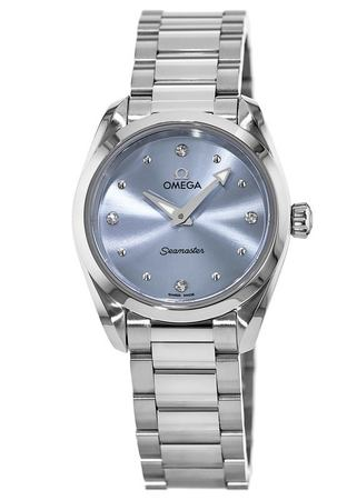 Omega Seamaster Aqua Terra 150M Quartz 28 MM Ice Blue Diamond Dial Stainless Steel Women's Watch 220.10.28.60.53.001