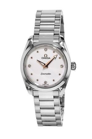Omega Seamaster Aqua Terra 150M Quartz 28 MM Shimmer White Dial Stainless Steel Women's Watch 220.10.28.60.54.001