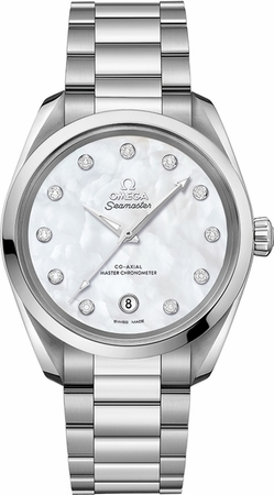 Omega Seamaster Aqua Terra 150m Master Co-Axial Chronometer 38 MM Mother of Pearl Dial Stainless Steel Women's Watch 220.10.38.20.55.001
