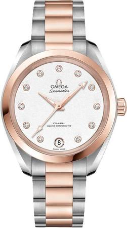 Omega Seamaster Aqua Terra 150m Master Co-Axial Chronometer 34 MM Silver Dial Steel and Rose Gold Women's Watch 220.20.34.20.52.001