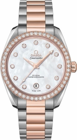Omega Seamaster Aqua Terra 150m Master Co-Axial Chronometer 38 MM Mother of Pearl Diamond Dial Steel and Rose Gold Women's Watch 220.25.38.20.55.001