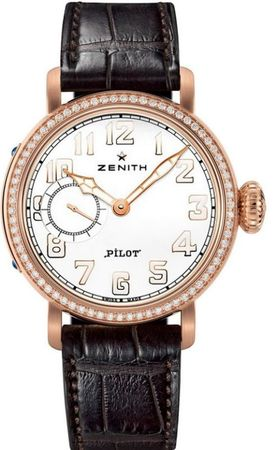 Zenith Pilot Montre d'Aeronef Type 20  Rose Gold Diamond Dial Women's Watch 22.1930.681/31.C725