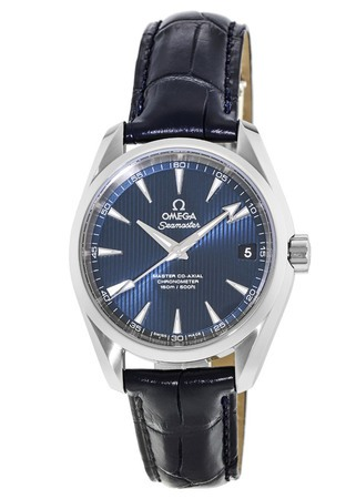 Omega Seamaster Aqua Terra 150m Master Co-Axial Blue Dial Leather Strap Men's Watch 231.13.39.21.03.001