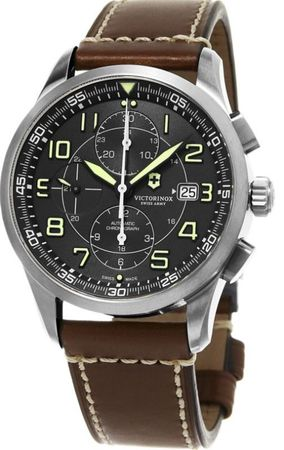 Victorinox Swiss Army Airboss  Mechanical  Black Chronograph Leather Strap Men's Watch 241597