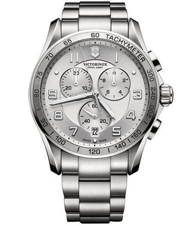 Victorinox Swiss Army Chrono Classic XLS  Silver Dial Stainless Steel Men's Watch 241654