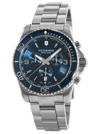 Victorinox Swiss Army Maverick  Chronograph Blue Dial Stainless Steel Men's Watch 241689