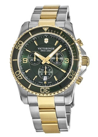 Victorinox Swiss Army Maverick  Chronograph Green Dial Two-Tone Stainless Steel Men's Watch 241693-SD