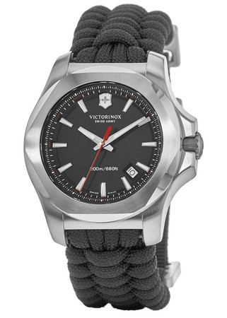 Victorinox Swiss Army I.N.O.X. Paracord  Grey Dial Black Paracord Fabric Strap Men's Watch 241726